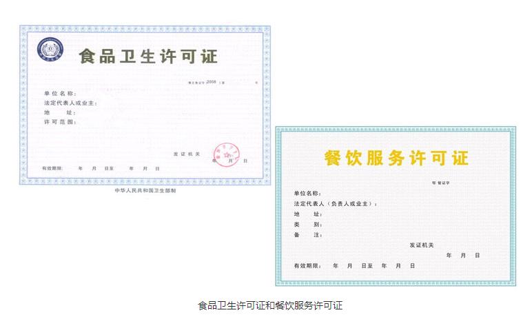 食品卫生许可证和餐饮服务许可证